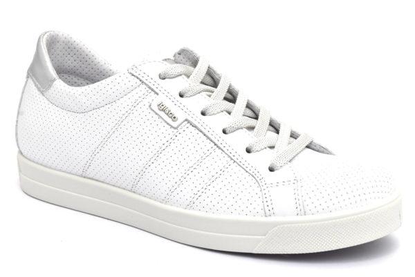 igieco 5154911 bianco scarpe vera pelle lacci zeppa sneakers estive da donna collezione primavera estate