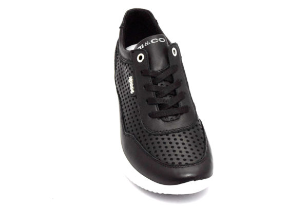 igieco 5162000 nero scarpe vera pelle lacci zeppa sneakers estive da donna collezione primavera estate