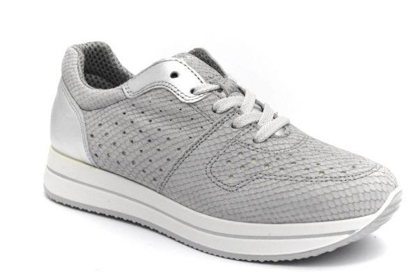 igieco 5164633 ghiaccio grigio scarpe vera pelle lacci zeppa sneakers estive da donna collezione primavera estate