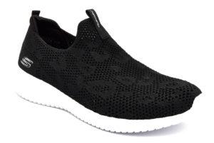 skechers 149009 bkw fast talker nero scarpe mesh tessuto lacci memory foam air cooled sneakers estive da donna collezione primavera estate