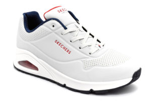 skechers 73690 wnvr stand on air bianco blu rosso scarpe ecopelle lacci memory foam air cooled sneakers estive da donna collezione primavera estate
