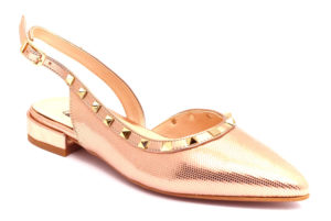 divine follie 6005 strass met laminato borchie carne scarpe ecopelle cinturino alla caviglia tacco basso ballerine estive da donna collezione primavera estate
