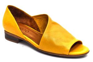 bueno 20wn5112 noche giallo ocra scarpe vera pelle slipon tacco basso mocassini estive da donna collezione primavera estate