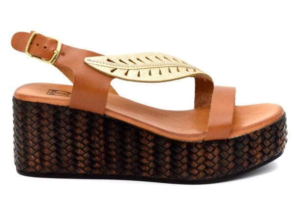 divine follie 6010 bruciato oro scarpe vera pelle cinturino alla caviglia zeppa sandali estive da donna collezione primavera estate