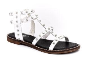 divine follie 6238 bianco scarpe vera pelle cinturino alla caviglia tacco basso sandali estive da donna collezione primavera estate
