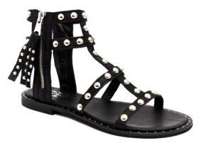 divine follie df 292 nero scarpe vera pelle cinturino alla caviglia tacco basso sandali alla schiava estivi da donna collezione primavera estate