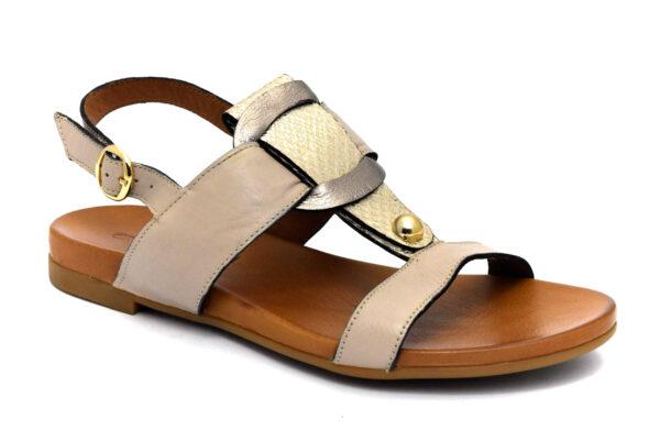 grunland fano sa2494 i8 beige scarpe vera pelle fibbia tacco basso sandali estive da donna collezione primavera estate
