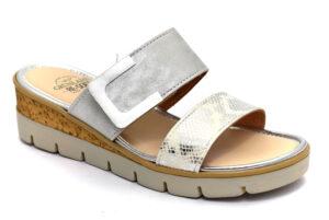 grunland pafo ci2849 g7 argento ciabatte pantofole ecopelle da infilare zeppa ciabatte pantofole estive da donna collezione primavera estate