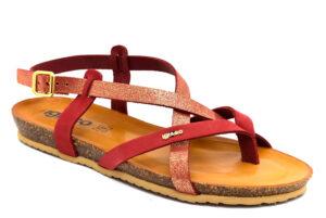 igieco 5197244 rosso scarpe vera pelle fibbia tacco basso sandali estive da donna collezione primavera estat