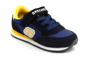 skechers 97366n nvgd blu giallo scarpe mesh tessuto strappi sneakers estive da bambino collezione primavera estate