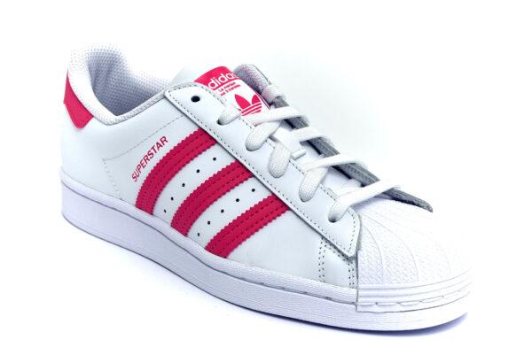 adidas fw0773 superstar bianco rosa scarpe vera pelle lacci sneakers estive da donna collezione primavera estate