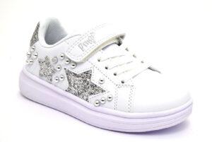 primigi 7457500 bianco stelle argento scarpe mesh tessuto strappi sneakers estive da bambina collezione primavera estate