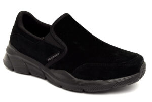 skechers 232019 bbk equalizer nero scarpe vera pelle slipon mocassini invernali da uomo collezione autunno inverno
