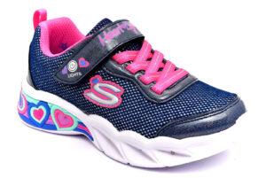 skechers 302304l nvmt blu scarpe mesh tessuto strappi luci sneakers estive da bambina collezione primavera estate