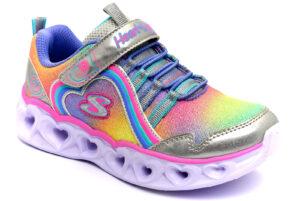 skechers 302308l smlt argento rosa cuori scarpe mesh tessuto strappi luci sneakers estive da bambina collezione primavera estate