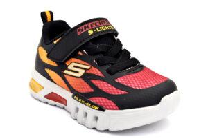 skechers 400016n bkrd rosso scarpe mesh tessuto strappi luci sneakers estive da bambino collezione primavera estate