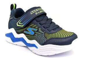 skechers 400125l nvlm blu scarpe mesh tessuto strappi luci sneakers estive da bambino collezione primavera estate