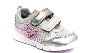 geox b15h8c 0m2bc c0566 argento scarpe mesh tessuto strappi sneakers estive da bambina collezione primavera estate
