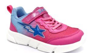 geox j15dlb 0as54 c8328 fucsia rosa scarpe mesh tessuto strappi luci sneakers estive da bambina collezione primavera estate