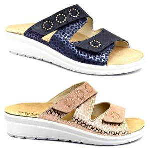 grunland daby ce0746 59 blu ciabatte pantofole vera pelle da infilare zeppa sandali estive da donna collezione primavera estate plantare sottopiede estraibile