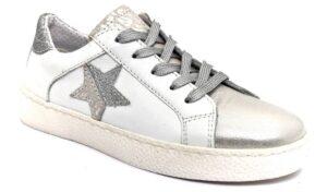 grunland tado sc5171 88 argento bianco scarpe vera pelle lacci sneakers estive da bambina collezione primavera estate