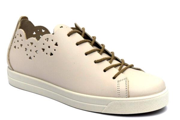 igieco 5155122 beige scarpe vera pelle lacci zeppa sneakers estive da donna collezione primavera estate