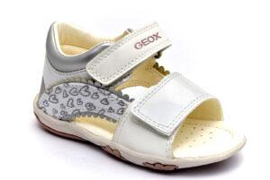 geox b1538a 010aj c0007 bianco argento scarpe vera pelle strappi sandali estive da bambinacollezione primavera estate