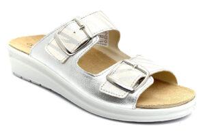 grunland daby ce0745 59 argento ciabatte pantofole vera pelle fibbia zeppa sughero naturale ciabatte pantofole estive da donna plantare estraibilecollezione primavera estate