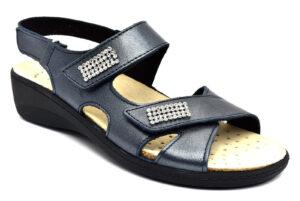 grunland esta se0416 68 blu scarpe vera pelle strappi zeppa sandali estive da donna collezione primavera estate