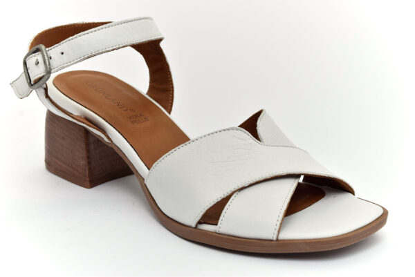 grunland fara sa2372 l6 bianco scarpe vera pelle fibbia tacco medio sandali estive da donna collezione primavera estate