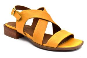 grunland fati sa2376 l6 giallo scarpe vera pelle fibbia tacco basso sandali estive da donna collezione primavera estate