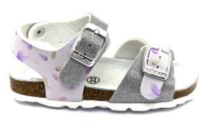 grunland aria sb1661 40 bianco argento scarpe ecopelle strappi plantare in sughero sandali estive da bambina collezione primavera estate
