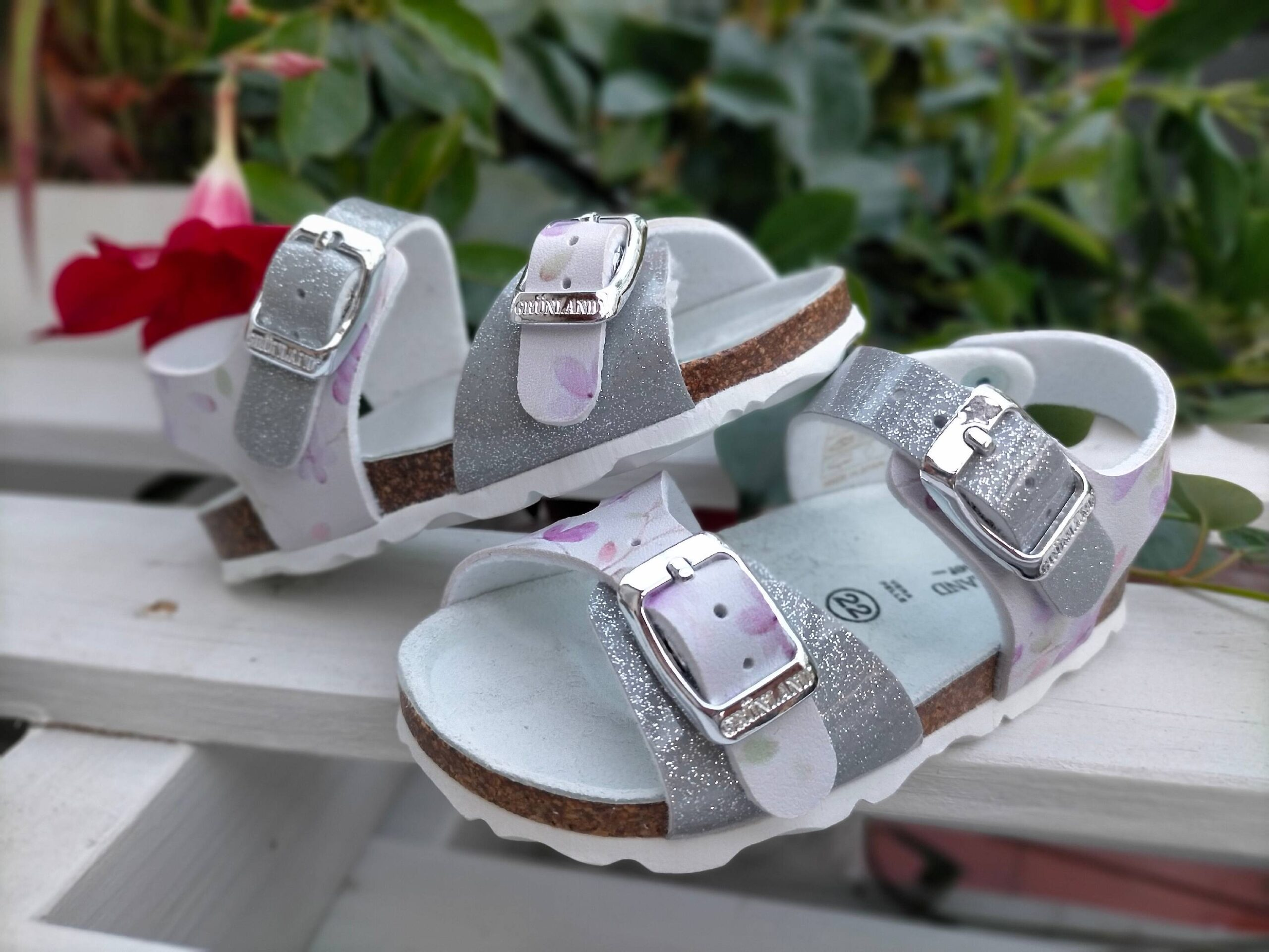 grunland aria sb1661 40 bianco argento sintetico fibbia plantare in sughero sandali estivi da bambina collezione primavera estate