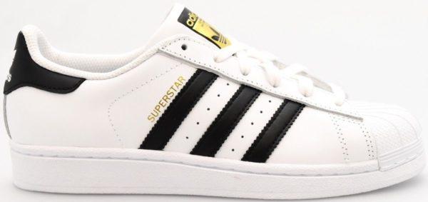 ADIDAS SUPERSTAR J C77154 bianca con striscie nere sneakers allacciata unisex sia per uomo che per donna