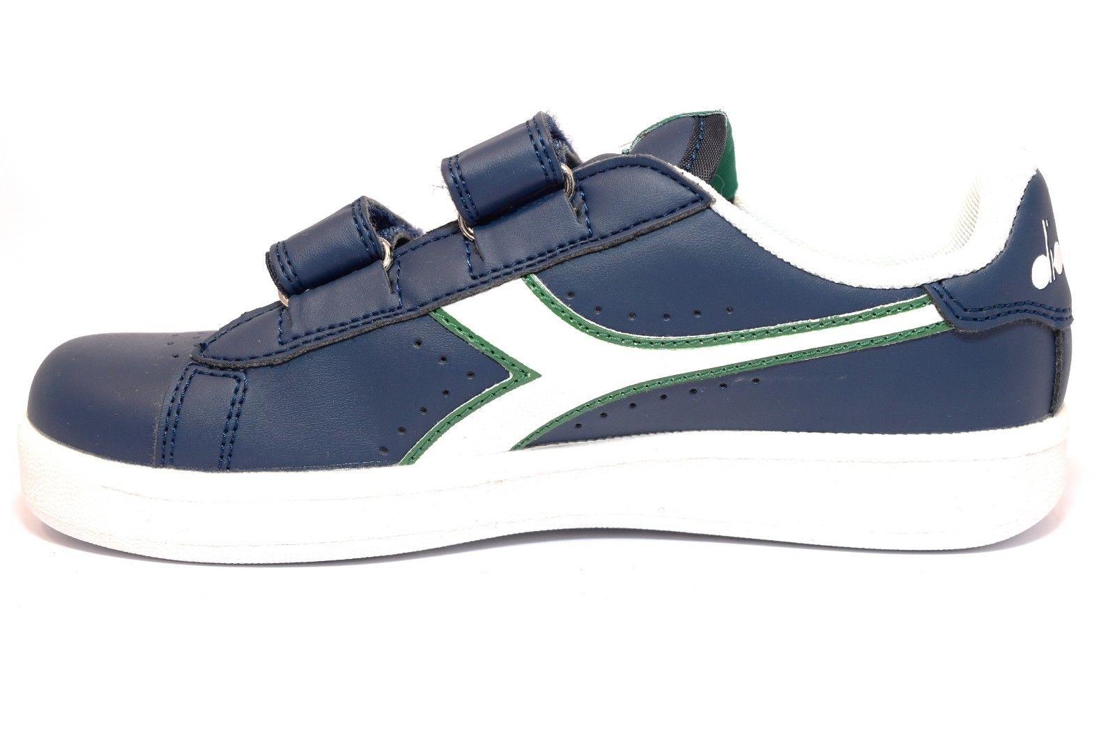 Dettagli su DIADORA 101 172336 01 C5901 GAME JR BLU Bianco Verde Sneakers Bambino Strappi