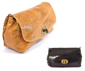 Tracolla 09 Borsa tipo postino in Vera pelle made in Italy con borchie di colore cuoio nero